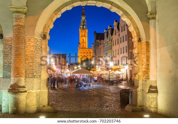 GDANSK, POLAND - AUGUST 13, 2017: Architecture of the Long Lane in Gdansk at night. Baroque architecture of the Long Lane is one of the most notable tourist attractions of the city.