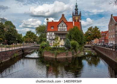 Gdansk, Poland – August 19, 2019: View at Miller's House, old headquarters of the Millers guild, Mill Island in Gdansk, Poland.