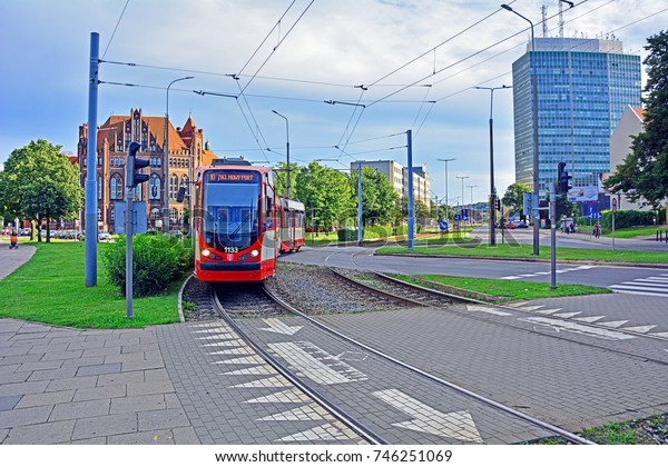 GDANSK, POLAND - AUGUST 2 - Second-hand Duwag N8C tram, modernized by Modertrans, acquired by Gdansk tramway operator (GAiT), in the center of Gdansk on August 2, 2017 in Gdansk, Poland