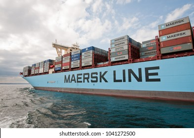 Gdansk, Poland - August 21, 2013: Maersk Mc-Kinney Moller Triple E-class, former worlds largest container ship in port of Gdansk city