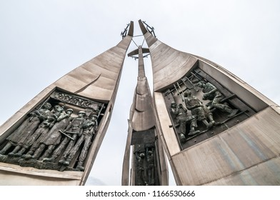 Gdansk, Poland - August 27, 2018: Gdańsk Shipyard - the cradle of Solidarity - a few days before the anniversary of the August Agreements. Monument to Shipyard Workers Fallen in 1970, created followin