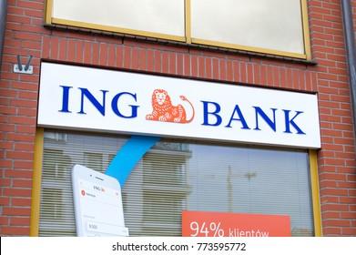Gdansk, Poland - December 12, 2017: Logo and sign of ING Bank at ING bank office in Gdansk.