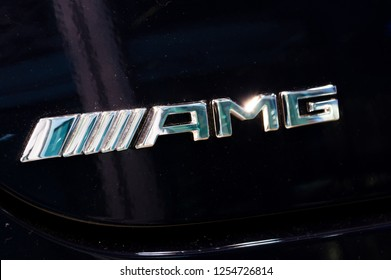 Gdansk, Poland - December 9, 2018: Logo and sign of Merceds AMG on black car. Mercedes-AMG is a bland belong to Mercedes-Benz.