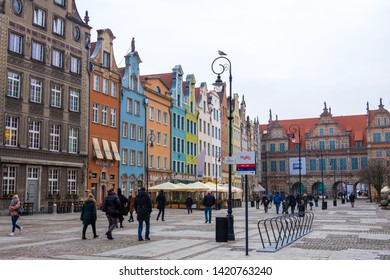 Gdansk, Poland - February 05, 2019: Long Market Street, typical decorative medieval tenement houses, Royal Route, Gdansk Poland