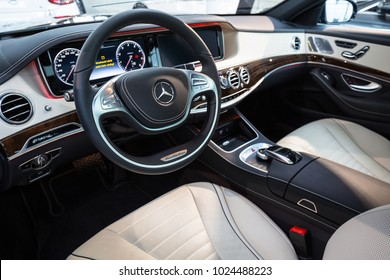 GDANSK, POLAND - FEBRUARY 13, 2018: Luxury interior of new Mercedes S class in the car showroom of Gdansk, Poland. Mercedes-Benz is German luxury  automobile manufacturer located in Stuttgart.