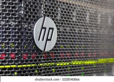 Gdansk, Poland- February 17, 2014: Silver aluminum brand of HP Hewlett Packard.