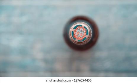 Gdansk, Poland - January 05, 2019: Pilsner Urquell beer. Pilsner Urquell is a Czech lager brewed by the Pilsner Urquell Brewery.