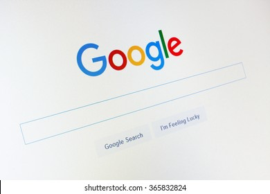 GDANSK, POLAND - JANUARY 14, 2016. Google.com homepage and cursor on the screen. Google is world's most popular search engine