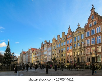 Gdansk, Poland - January 2019: Colorful street of Dugla ulica in the beautiful city of Gdansk