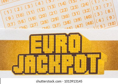 GDANSK, POLAND - JANUARY 26, 2018. Euro Jackpot ticket with numbers. Eurojackpot is a transnational European lottery launched in March 2012