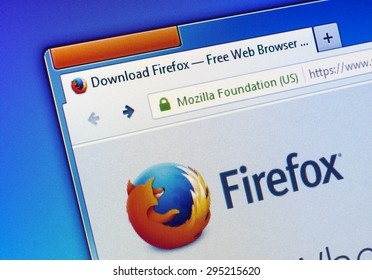 GDANSK, POLAND - JULY 07, 2015. Firefox homepage on computer screen. Mozilla Firefox  is a free and open-source web browser developed for Windows, OS X, and Linux,