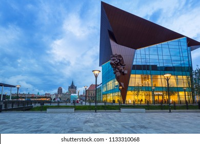 Gdansk, Poland - July 12, 2018: Architecture of new Forum mall in the city center of Gdansk of Gdansk, Poland. Gdansk is the historical capital of Polish Pomerania with medieval old town architecture.
