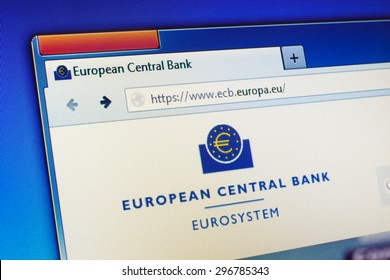 GDANSK, POLAND - JULY 15, 2015. European Central Bank (ECB) homepage on computer screen.