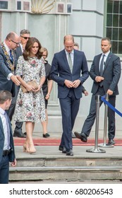 Gdansk, Poland - July 18, 2017: Duchess Kate, Prince William at Artus Court.