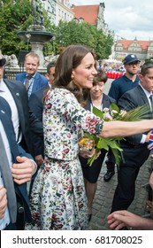 Gdansk, Poland - July 18, 2017: Catherine greeting crowds near historic Neptune's Fountain at Long Market street. Visit Duchess of Cambridge and Prince William the Poland.