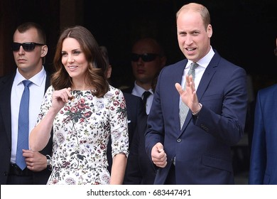 GDANSK, POLAND - JULY 18, 2017: PRINCE WILLIAM AND CATHERINE DUCHESS OF CAMBRIDGE DURING VISIT IN POLAND