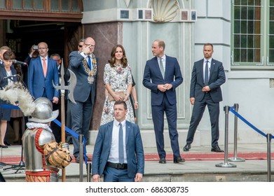 Gdansk, Poland - July 18, 2017: Royal couple (Duchess Catherine and Prince William) at Artus Court in old town of Gdansk. Visit Duchess of Cambridge and Prince William the Poland.