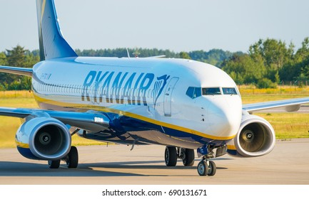 GDANSK, POLAND - July 19, 2017: EI- FTC - Boeing 737 - Ryanair plane on the airstrip is ready for departure from Lech Walesa International Airport in Gdansk.
