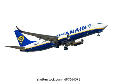 GDANSK, POLAND - July 19, 2017: EI- FTC - Boeing 737 - Ryanair plane isolated on the white background in the air is flying from the International Airport in Gdansk. Ryanair is Irish airlines.