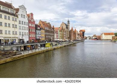 GDANSK, POLAND - JULY 20: Boulevard along the Motlawa river on July 20, 2012 in Gdansk.