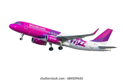 GDANSK, POLAND - JULY 22, 2017: Passenger plane Wizzair airplane in the air, isolated on the white background. Wizzair is a Hungarian low cost airline.