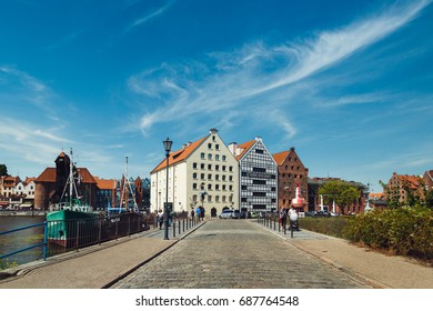Gdansk, Poland - July 22 2017: People are resting in old town of Gdansk in summer
