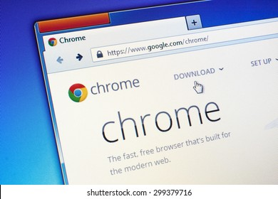 GDANSK, POLAND - JULY 23, 2015. Google Chrome homepage on computer screen. Google Chrome is a freeware web browser developed by Google.