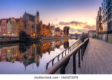 Gdansk, Poland - July 25, 2019: Beautiful sunrise over Motlawa river in Gdansk, Poland. Gdansk is the historical capital of Polish Pomerania with beautiful architecture.