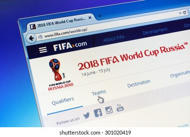 GDANSK, POLAND - JULY 29, 2015. FIFA homepage on computer screen. Official logo of the football world championship in Russia
