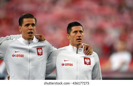 GDANSK, POLAND - JUNE 01, 2015: EURO 2016 European International Friendly Game Poland - Netherland o/p Wojciech Szczesny Robert Lewandowski