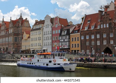 GDANSK, POLAND, JUNE 16, 2016: beautiful cityscape of the Gdansk old town on the Motlawa river.
