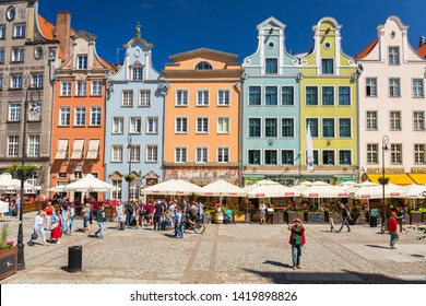 Gdansk, Poland - June 2, 2019: Architecture of the old town in Gdansk, Poland. Gdansk is the historical capital of Polish Pomerania with medieval old town architecture.