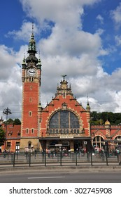 GDANSK, POLAND - JUNE 20: Old beautiful train station on June 20, 2015 in Gdansk, Poland. The station building hails from the end of the 19th century.
