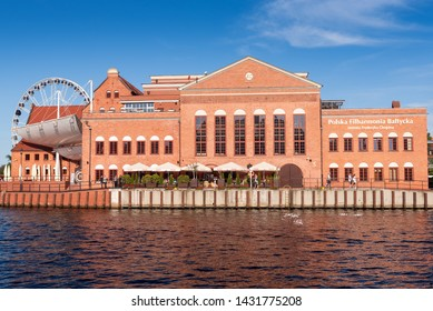 GDANSK, POLAND - June 22, 2019: Historic Philharmonic of Gdansk on the Island of Ołowianka. Old Town of Gdansk.