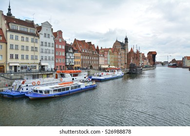 GDANSK, POLAND - JUNE 24, 2015: Cruise ships on Motlawa river. Gdansk has the main seaport in Poland and is popular destination for tourists