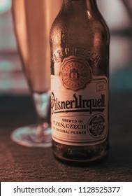 Gdansk, Poland - June 26, 2018: Pilsner Urquell beer. Pilsner Urquell is a Czech lager brewed by the Pilsner Urquell Brewery.