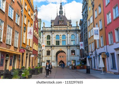 GDANSK, POLAND - JUNE 6, 2018 : Long Lane street with 17th century Golden Gate (Long Street Gate), decorative facade, cityscape