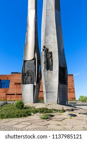 GDANSK, POLAND - JUNE 6, 2018:  Monument to the fallen Shipyard Workers 1970, next to Gdansk Shipyard, previously Lenin Shipyard