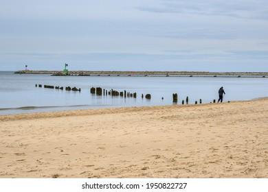 Gdansk, Poland - March 13, 2021: Sandy beach in Gorki Zachodnie on the Baltic Sea. Gdansk, Poland
