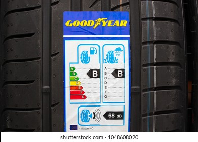 GDANSK, POLAND - MARCH 18, 2018.  Goodyear car tyre and label with information about safety, fuel efficiency and external tyre noise. The Goodyear is an American multinational tire manufacturing comp