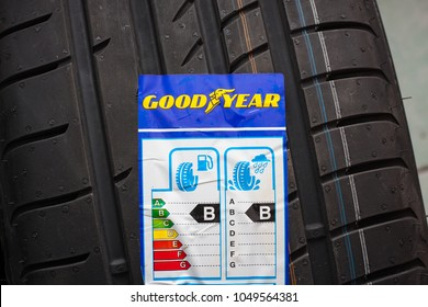 GDANSK, POLAND - MARCH 18, 2018. Goodyear car tyre with label with information about safety, fuel efficiency and external tyre noise. The Goodyear is an American multinational tire manufacturing comp