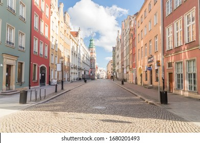 Gdansk, Poland - March 22, 2020: Tkacka street in old town of Gdansk. Empty city during the COVID-19 coronavirus.
