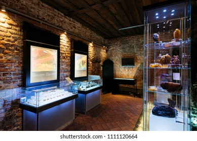 Gdansk, Poland - May 10, 2018: Exhibition in the Amber museum in  Gdansk.