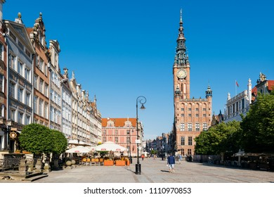 Gdansk, Poland - May 11, 2018: The Long Lane street in old town of Gdansk.