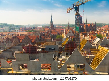 GDANSK, POLAND - MAY 12, 2018: Aerial view of reconstruction of historic buildings on Granary Island