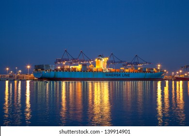 GDANSK, POLAND - MAY 17: The Estelle Maersk is currently one of the world's largest container vessels, length 397m, beam 56m, taking on board the 13 500 containers on May 17, 2013 in Gdansk, Poland.