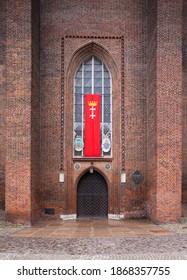 Gdansk, Poland, May 24, 2020. Main entrance to Mariacka Church in Gdansk