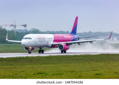 Gdansk, Poland – May 28, 2019: Wizzair Airbus A321 airplane at Gdansk airport (GDN) in Poland.