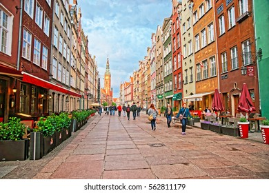 Gdansk, Poland - May 7, 2014: Main City Hall and Dlugi Targ Square in the old town center, Gdansk, Poland. People on the background.