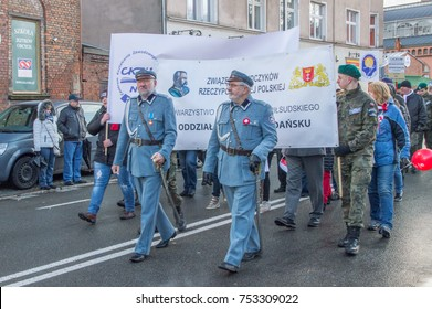 GDANSK, POLAND - NOVEMBER 11, 2017: Pilsudski union celebrating National Independence Day in Gdansk in Poland. Celebrates 99th anniversary of independence.